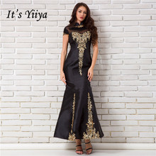 It's YiiYa Black Evening Dresses Vintage Gold Embroidery Bac