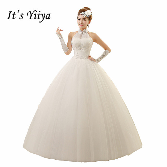 Plus Size 2017 Vestidos De Novia Real Photo Halter Tulle Sex Quality Wedding Dresses White Bride