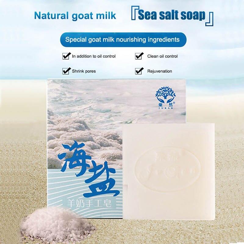100g Sea Salt Soap Pimple Pores Acne Removal Natural Goat Milk Mild Face Care Soap FM88