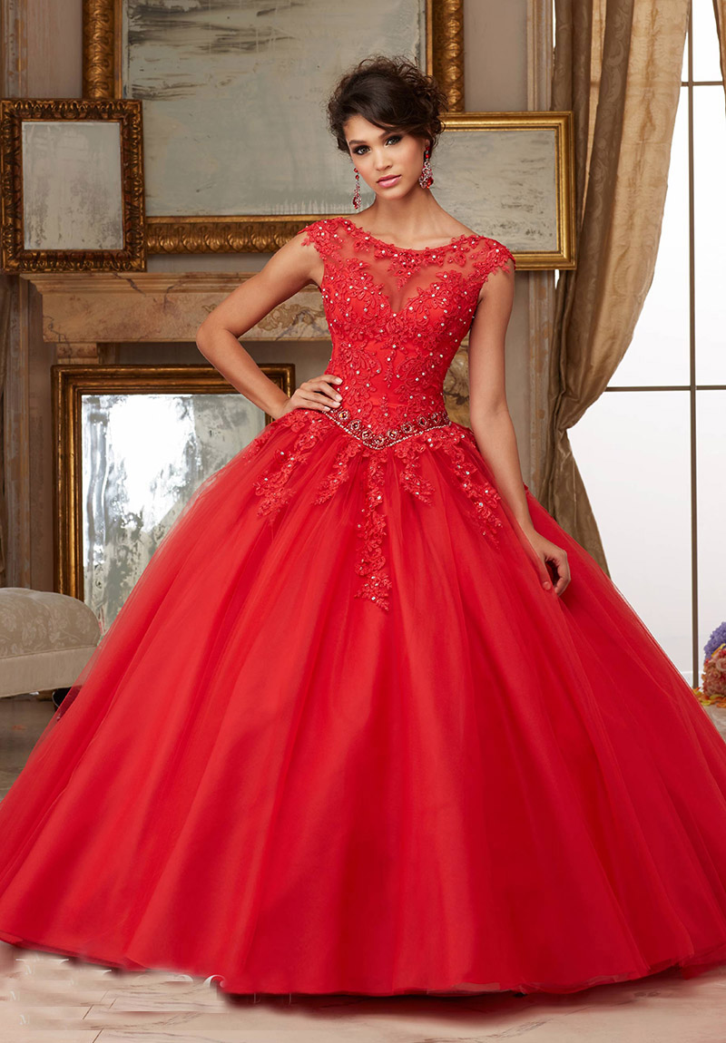 Cap Sleeves Scoop Neck Aqua Scarlet Blush Lace Ball Gown Prom Dress ...