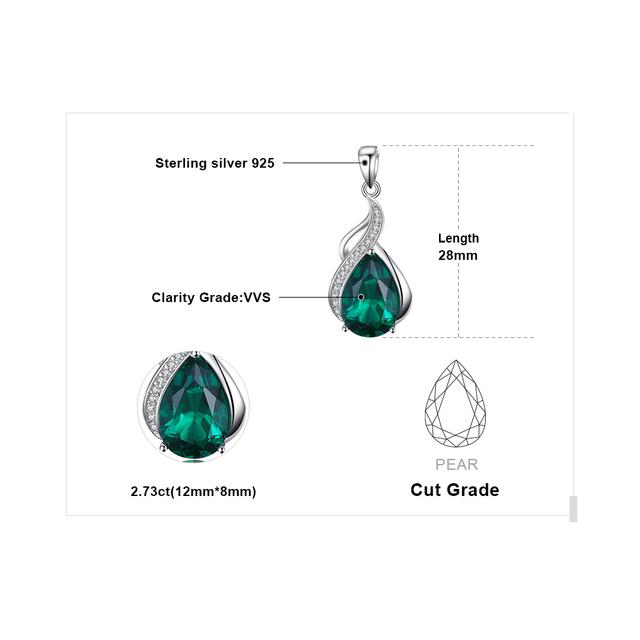 Emerald Pear Silver Pendant