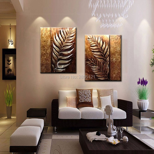 Hand Painted Thick Textured Oil Painting On Canvas Abstract Brown Gold Silver  Wall Art Branch Leaf