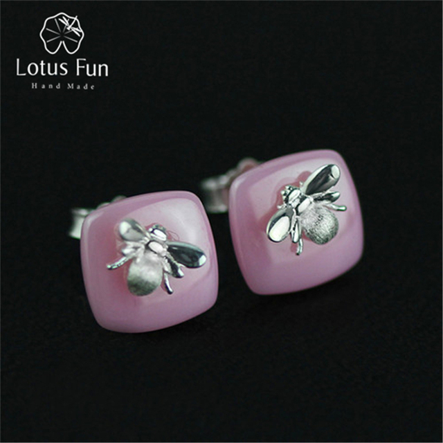 Lotus Fun Real 925 Sterling Silver Natural Handmade Designer Fine Jewelry Bee Kiss from a Rose Stud Earrings for Women Brincos