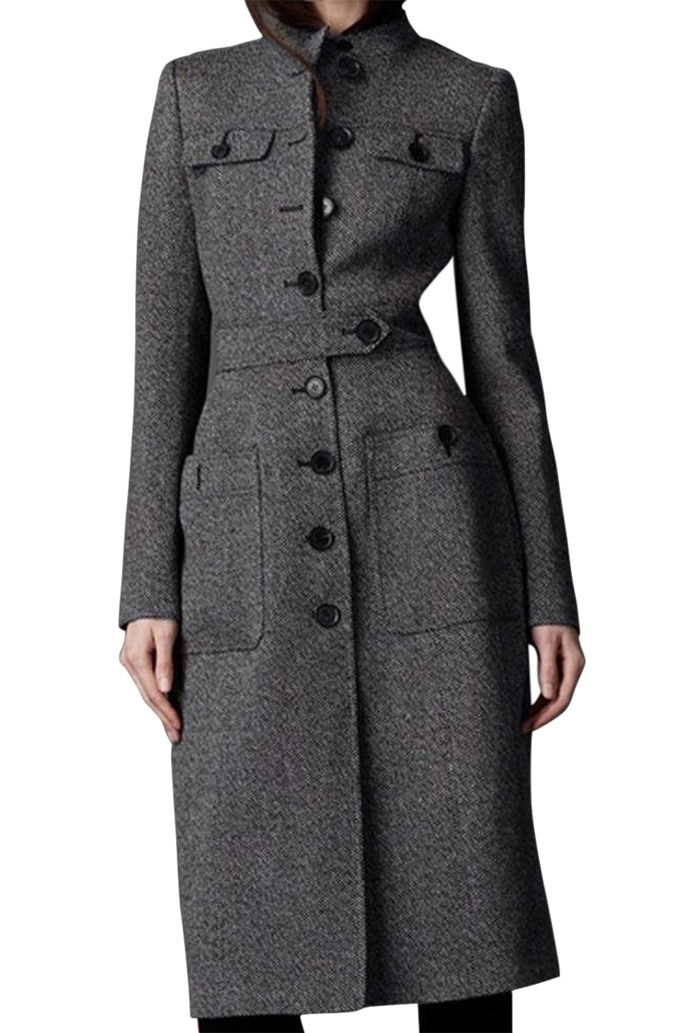 SAF-Women Fit Long   Trench   Coat Full Length Wool Blend Jack Gray