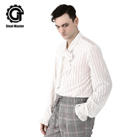 Vintage Men's White Shirts Striped Bow Neck Ties long Sleeve Tops For Male Fashion Design