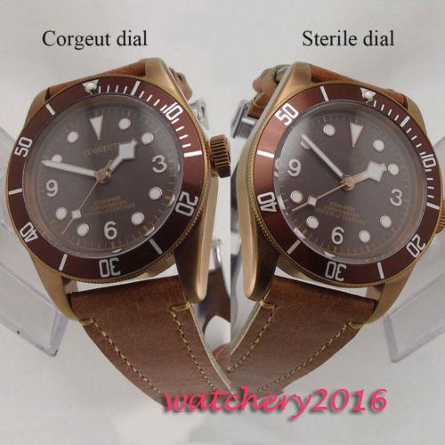 41mm Corgeut Brown Dial Bronze Case Date Sapphire Glass luminous Leather Band Analog miyota Automatic Movement mens Wrist Watch