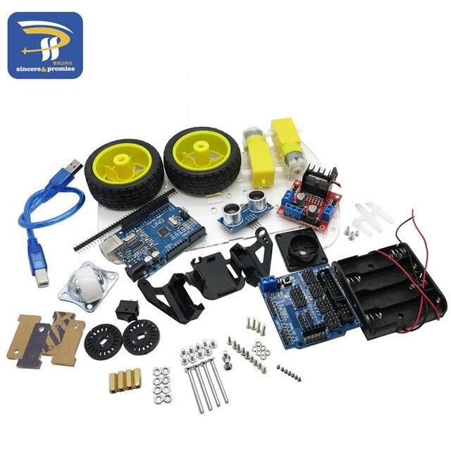 New Avoidance tracking Motor Smart Robot Car Chassis Kit Speed Encoder Battery Box 2WD Ultrasonic module For Arduino kit