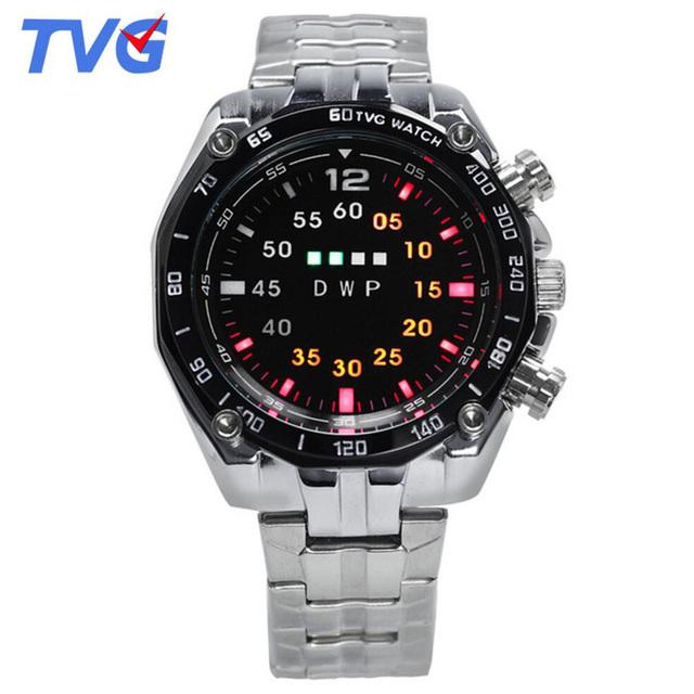 Marca TVG Reloj Led Correa de la Aleación de Aleación de La Manera de Los Hombres Relojes de Pulsera Hombre Horas Resistente Al Agua Reloj de la Exhibición de LED de Luz Única