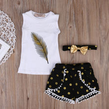 USA Toddler Kids Baby Girl Summer White Sleeveless Tops T-shirt Denim +Black With Yellow Dot Shorts 3Pcs Outfits Clothes