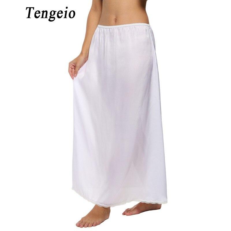 Tengeio Women Petticoat Underskirts Satin Trim Maxi Lace Long Black Half Slip Underskirt Skirt Slips Jupon Dentelle Femme 610