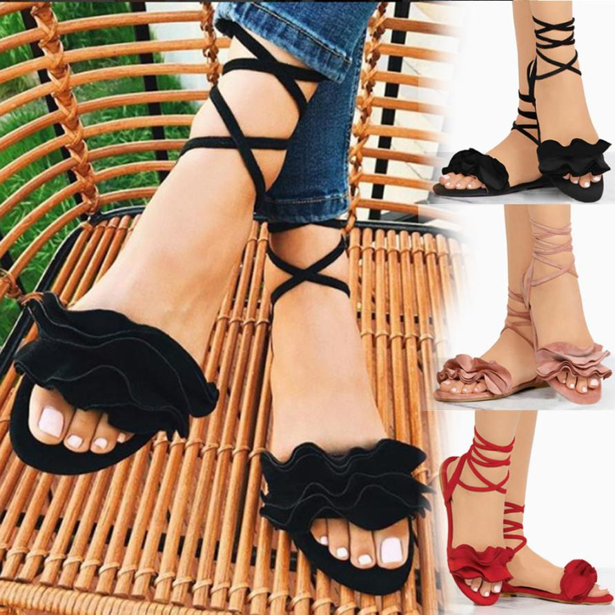 HTB1uTacbjvuK1Rjy0Faq6x2aVXam - Women Shoes Sandals Women Solid Color Ruffles Round Toe Flat Heel Cross Tied Sandals Rome Shoes Sandals summer