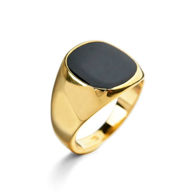 High Quality Oil Dripped Black Man Ring Jewelry for Men Gold Color Metal Bague Male