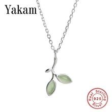 Cute Green Crystal Olive Leaves Pendant Leaf Choker Dangle 925 Sterling Silver Chain 2019 Necklace Women Jewelry Love Kolye Gift