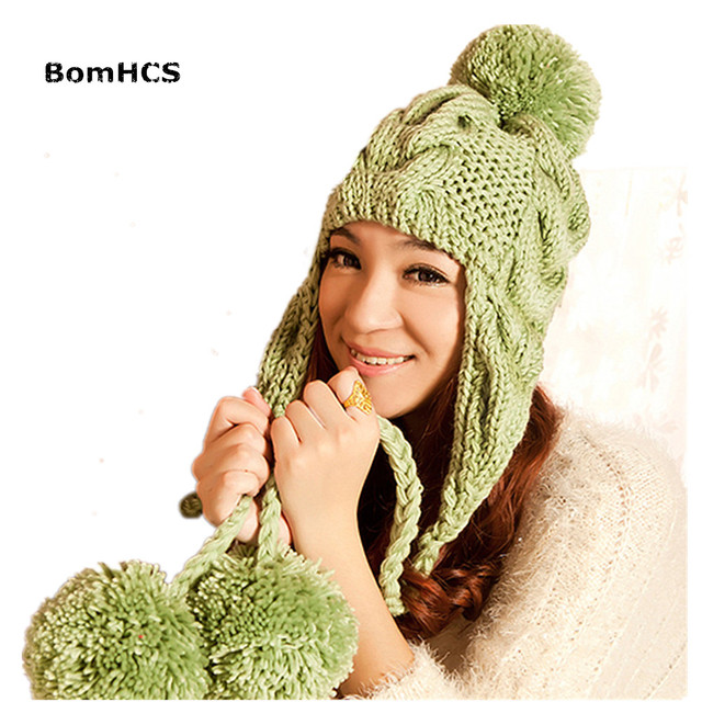 BomHCS New Women s Thick Cable Handmade Knit Beanie Ear Muff Warm Hat with  Top Pom 0ca5e16f1116