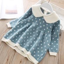 Noworodka dziewczyny ciepłe sukienka słodkie jesień zima nowe dziecko z dzianiny odzież dla niemowląt maluch topy koszulki dla dziewczyna wełna sukienki świąteczne