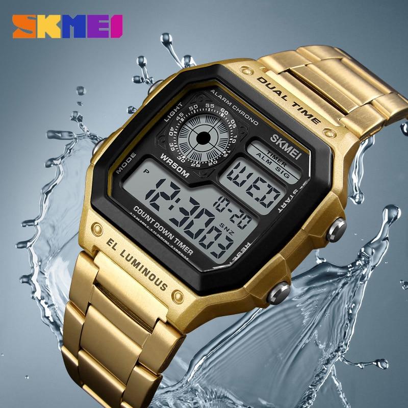 SKMEI Business Men Watches Waterproof Sport Watch Stainless Steel Digital Wristwatches Clock Relogio Masculino Erkek Kol Saati