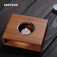 Natural Bamboo Warm Tea Stove Warmer Candlestick Candle Light Teapot Stand Holder / Tea Ceremony Accessories Heating Heater