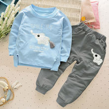 Children Tracksuit For Boys Sport Suits 2018 Cute Elephant Long Sleeved T-shirt Tops Pants 2PCS Outfits Kids Bebes Jogging Suits(China)