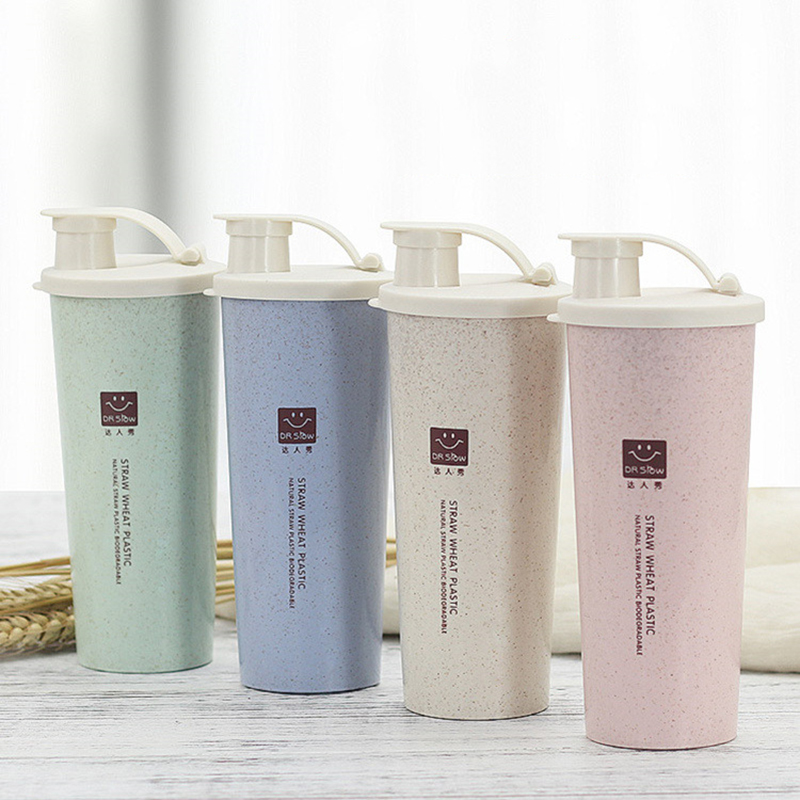 New 450ml Protein Powder Shaker Water Bottle Wheat Straw BPA Free Mixer Sports Fitness Protein Shaker Milk Shake Bottle image