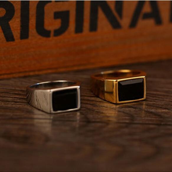Elegant Square Black yx Stone Band Ring Men In Titanium