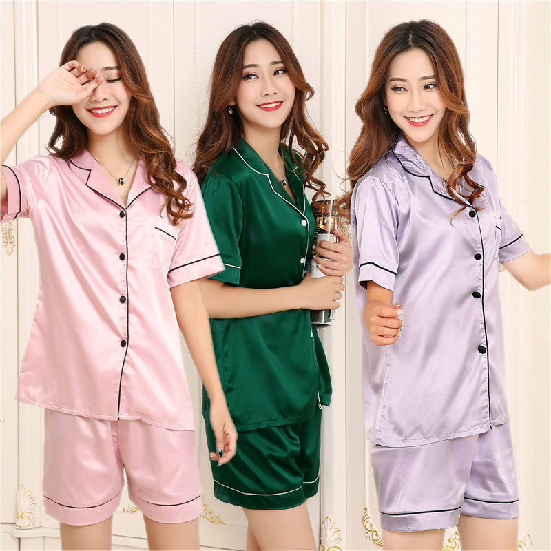 Summer Women Satin Pajamas Silk-Like Pyjama Set Short Sleeve Short Pants Housewear Bridesmaid Clothes Gifts Lingerie Underwear