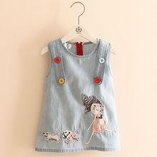 2021 г. Летняя новая модная майка для собак с вышивкой для маленьких девочек, платья-майки с пуговицами и круглым вырезом, детское платье из дж...