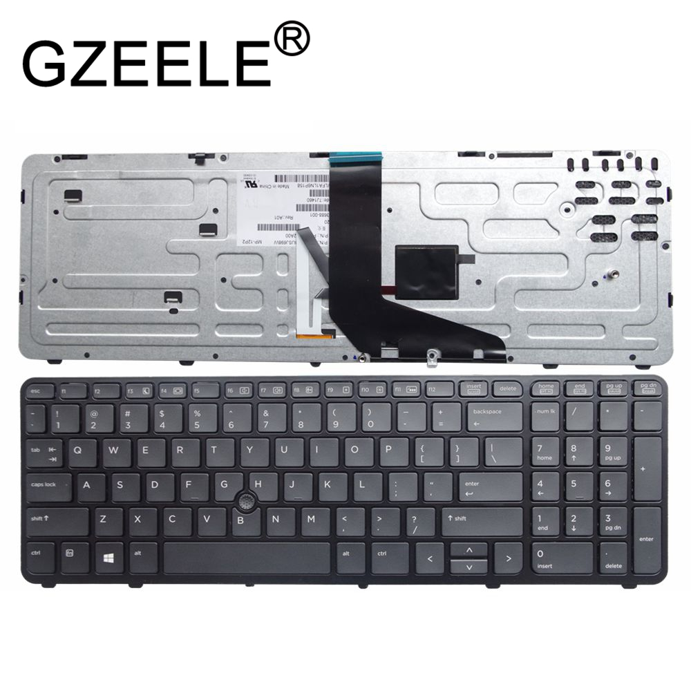 GZEELE new English laptop keyboard FOR HP for ZBOOK 15 17 PK130TK1A00 SK7123BL without backlight US black notebook 733688-001 gzeele hot selling english keyboard for hp elitebook 8440p 8440w 8440 us laptop keyboard black without point stick