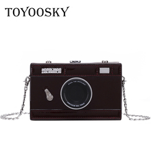 TOYOOSKY Fashion Vintage Camera Design Crossbody Bags for Women Personality Patent Leather Shoulder Bag Female Mini Box Purses