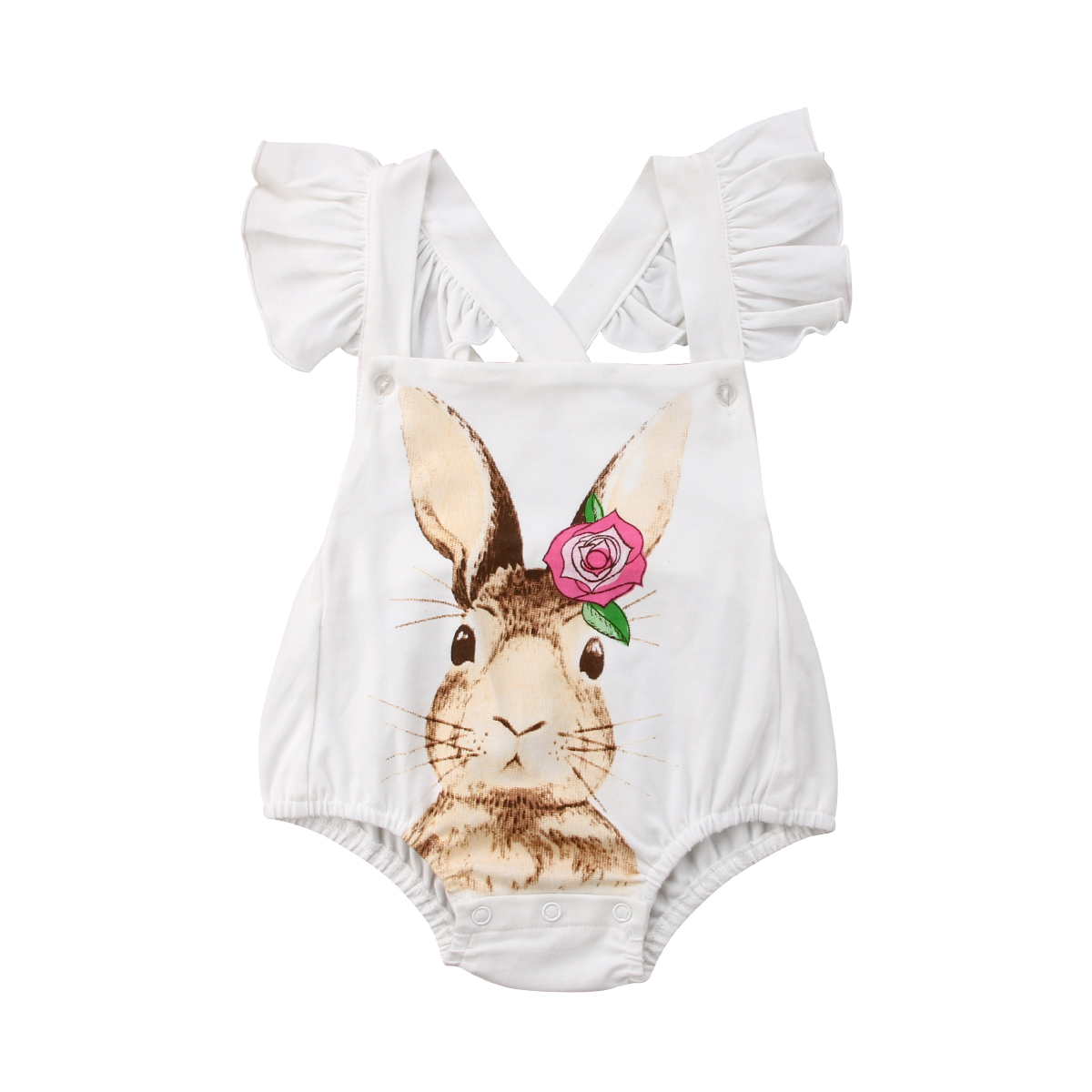 Newborn Baby Girl Rabbit Romper Jumpsuit Sunsuit Lace Clothes 0-18M