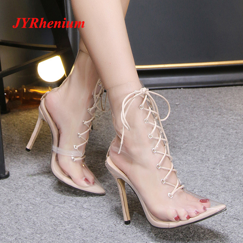 a1b5739c5a0 JYRhenium 2018 New Sexy Transparent High Heel Women Ankle Boots Clear Heels  Women Shoes Rain Boots