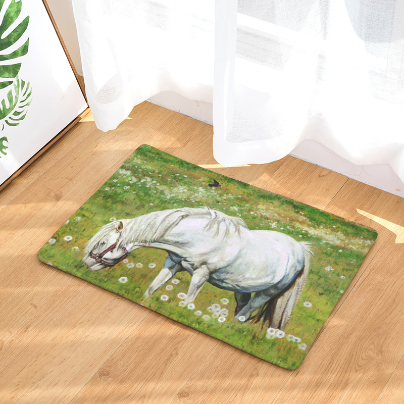 Cammitever White Horse Oil Painting Cow Pig Farm Animals Fox Wolf Rugs All Purpose Luxurious Comfort For Kitchen Bathroom