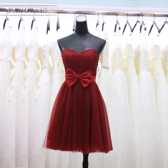 606047ca8050 Burgundy Fuchsia Red Romantic tulle and Lace Bridesmaid Dresses Hot ...