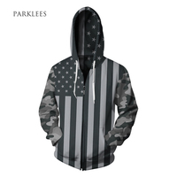Grey American Flag Hoodie 2017 New Brand Hoodies Men Camouflage Hoody Casual Sportswear Zipper Sweatshirt Hip