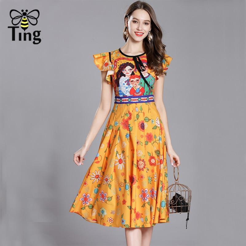 Tingfly 2018 Fashion Runway Summer Dress Womens Ruffles Sleeve Cartoon Character Print Daisy Vintage Party midi Dress vestidos