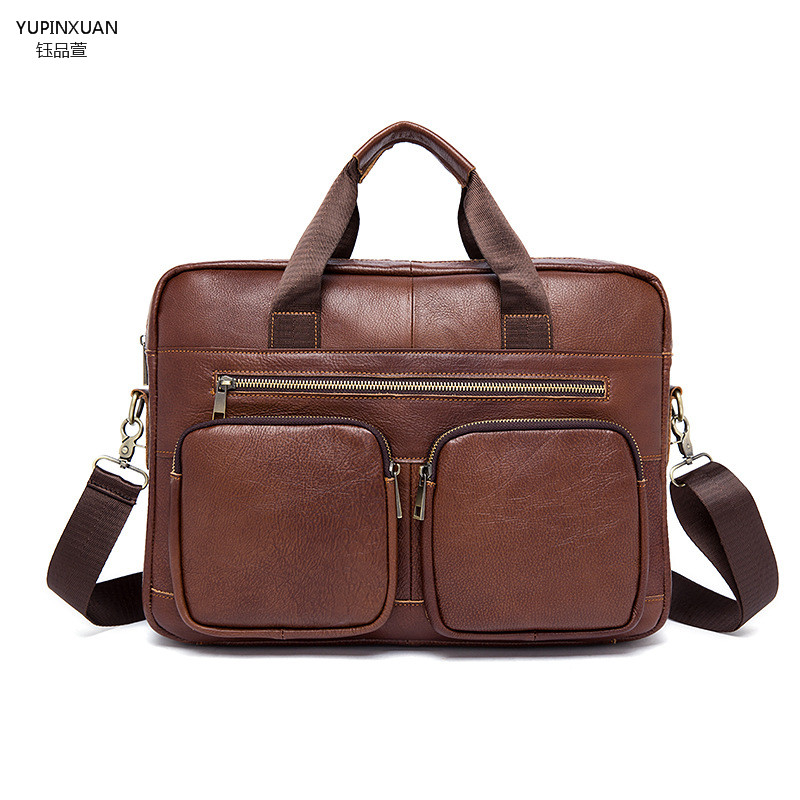YUPINXUAN Genuine Leather Business Bags for Men Vintage Shoulder Bag Handbag Cross-body 14 Inch Laptop Bag Retro Leather Bag