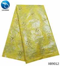 LIULANZHI getzner fabric african bazin yellow basin clothing dubai 2018 best quality for sewing with beads XB90