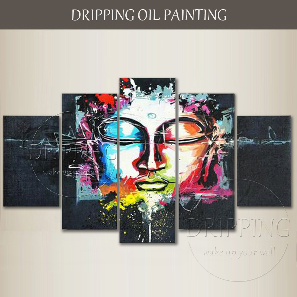 New Arrived Hand-painted Colorful Abstract Buddha Figure Oil Painting on Canvas 5 Panels Buddha Art Oil Painting for Living Room