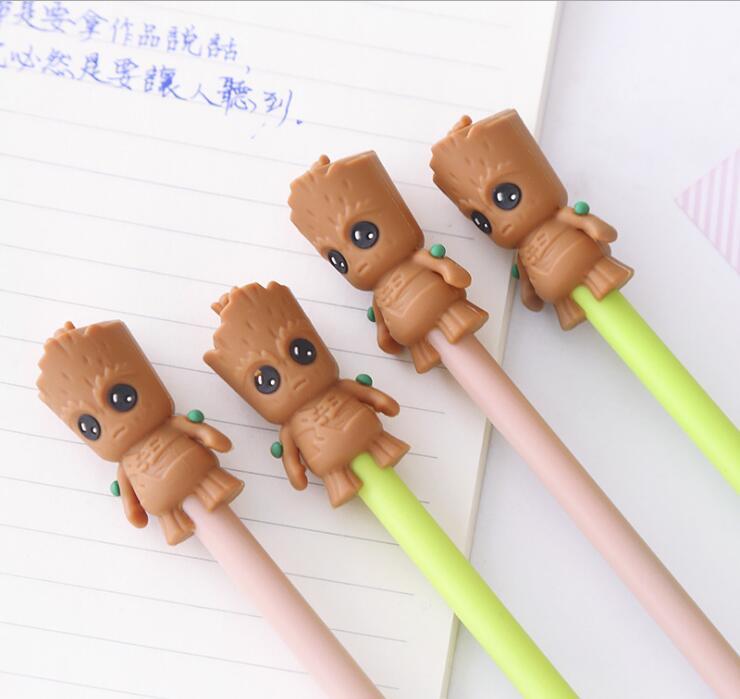 108 pcs/lot 0.5mm dessin animé GROOT Gel stylos arbre homme stylo noir fournitures scolaires stylo étudiant stylo