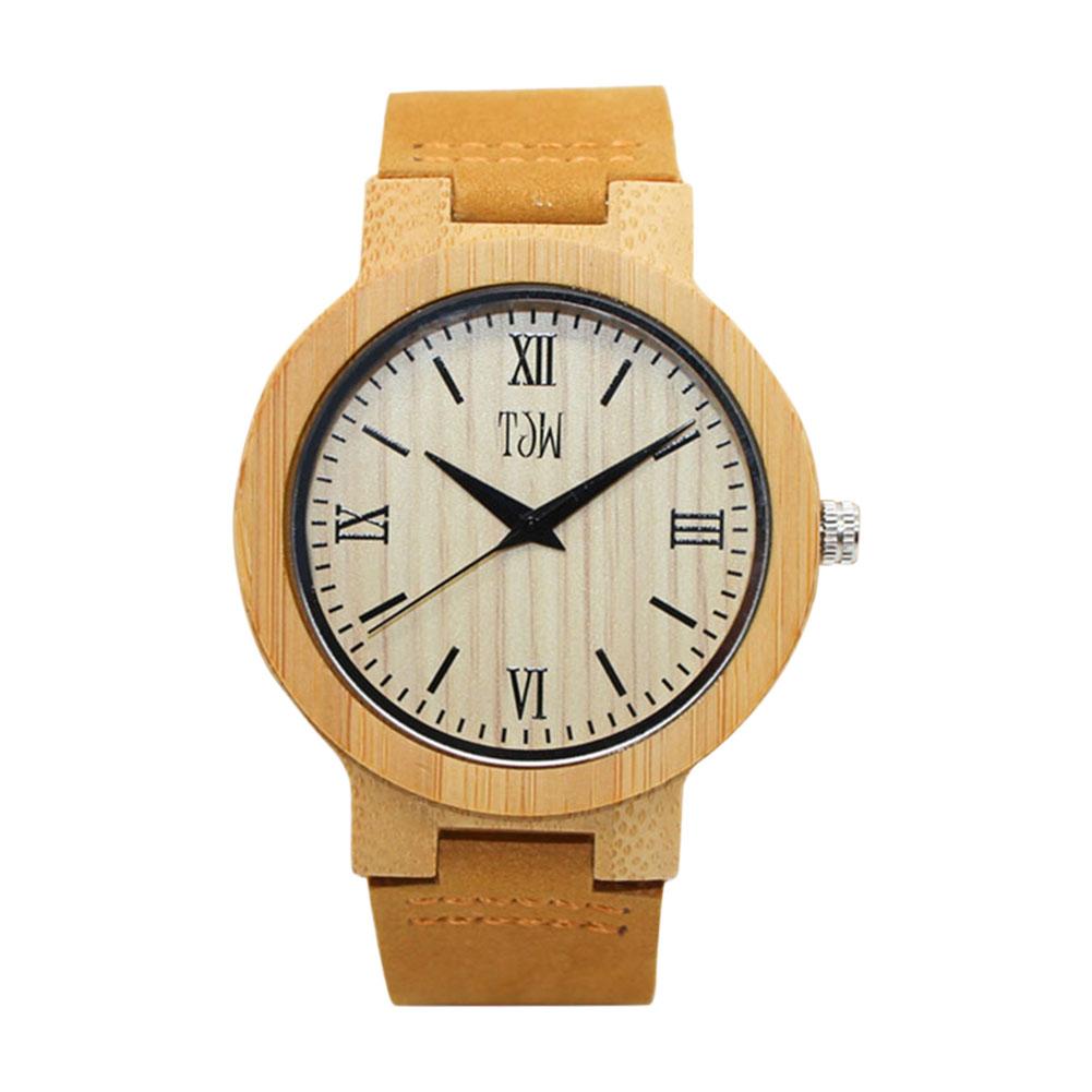 Simple Fashion Men Wood Watches Cow Leather Strap Quartz Watch Dial Clock Casual Man Wristwatch LL@17