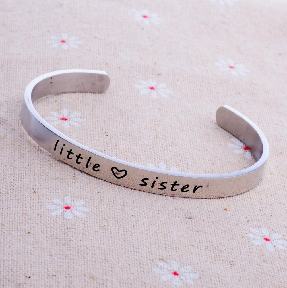 Acier inoxydable Argent Petite Soeur Amour Coeur Bracelet Manchette Bracelet  Meilleur Ami Bijoux Femmes Cadeaux Amitié Nouveau Mignon dans Manchette