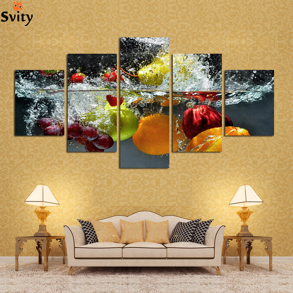 5 Panel Wall Art Painting print On Canvas Picture  Modern Fruit - Home Decor - Photo 1