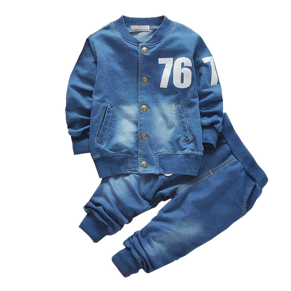 BibiCola baby boys clothing set boys suits denim Jeans ...