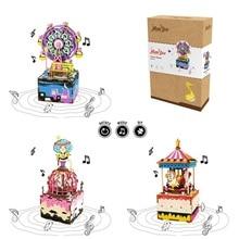 Robotime Draaibare DIY Houten Muziekdoos Handslinger Uurwerk Type Woondecoratie Schoonheid Geschenken Voor Vrienden Kinderen AM