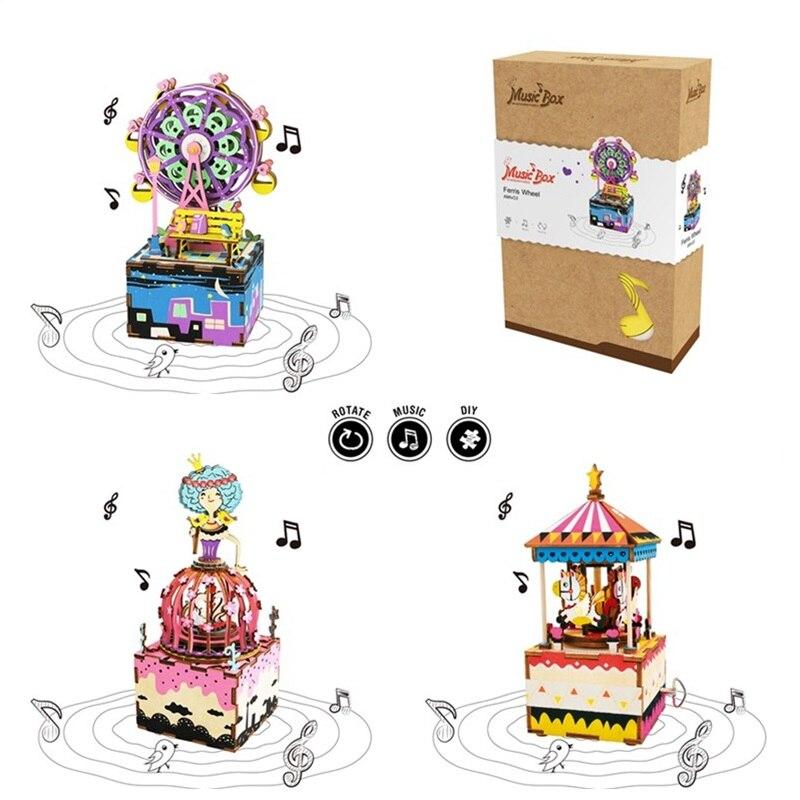 Robotime juguete giratorio carrusel rueda de DIY caja de música de madera reloj decoración manivela regalo para los niños novia soy