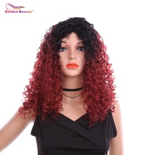 18inch Long Afro Kinky Curly Red Wig Dark Roots Synthetic Wigs For Black Women African American Wigs Golden Beauty fashion dark wine red capless fluffy afro curly long side bang synthetic wig for women