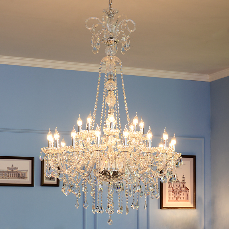 Luxury European tyle clear  hight quality crystal chandelier living room bedroom lighting fixture with LED 110v 220v E12 E14 european luxury crystal candle chandelier romantic bedroom chandelier high quality living room chandelier