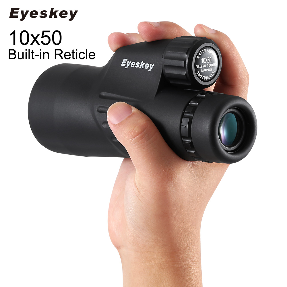 Eyeskey Monocular Telescope 10x50 with font b Rangefinder b font Reticle Waterproof Hunting Scopes with Telescope