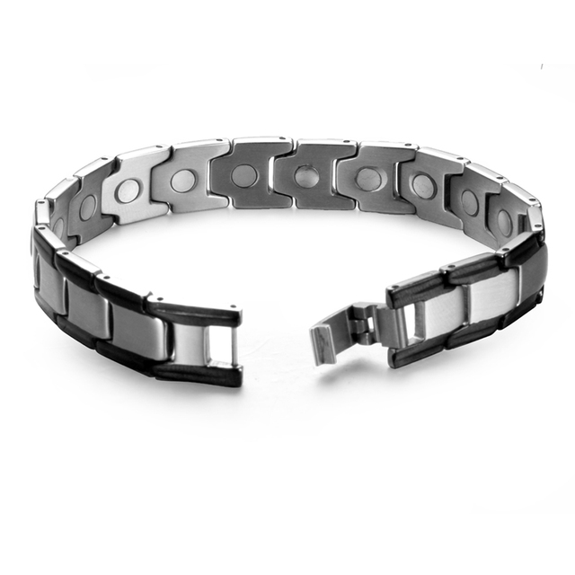 2017 Hot sale Stainless Steel Bracelet for Men Health care Magnetic Bracelet black color Bangle Free with gift box
