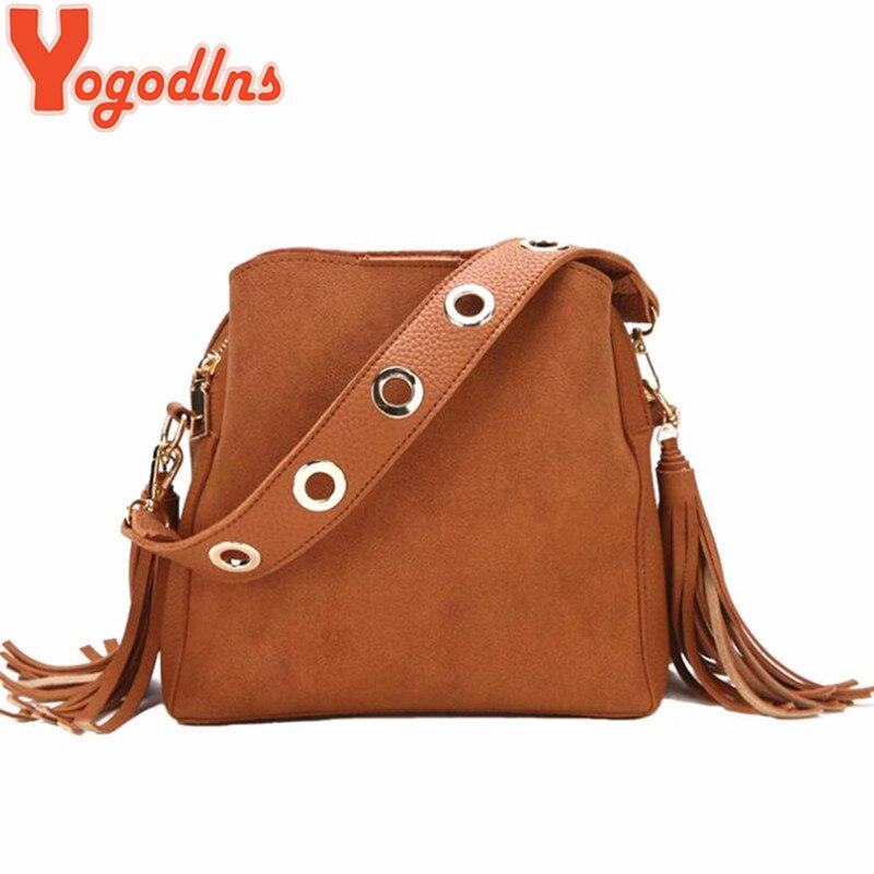 Yogodlns Fashion Scrub Women Bucket Bag Vintage Tassel Messenger Bag High Quality Retro Shoulder Bag Simple Crossbody Bag Tote