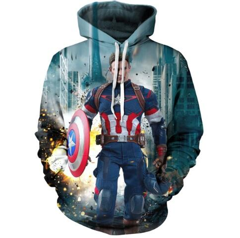 Marvel Heroes Captain America homme 3D impression numérique sweat à capuche poche sweat Avengers League